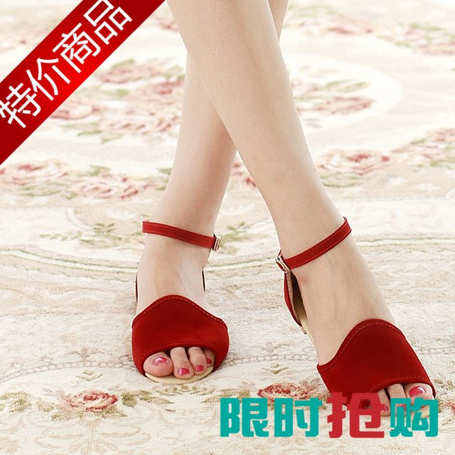 2015 summer fashion buckle female sandals open toe flat heel scrub solid color casual all-match women's shoes - Lebron green's store