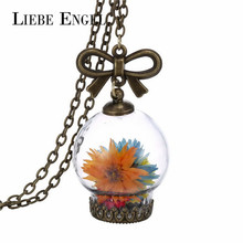 LIEBE ENGEL Glass Dry Flower Necklace Real Flower Bottle Pendant Necklace Bronze Chain Necklace Women Jewelry Fashion 2016(China (Mainland))