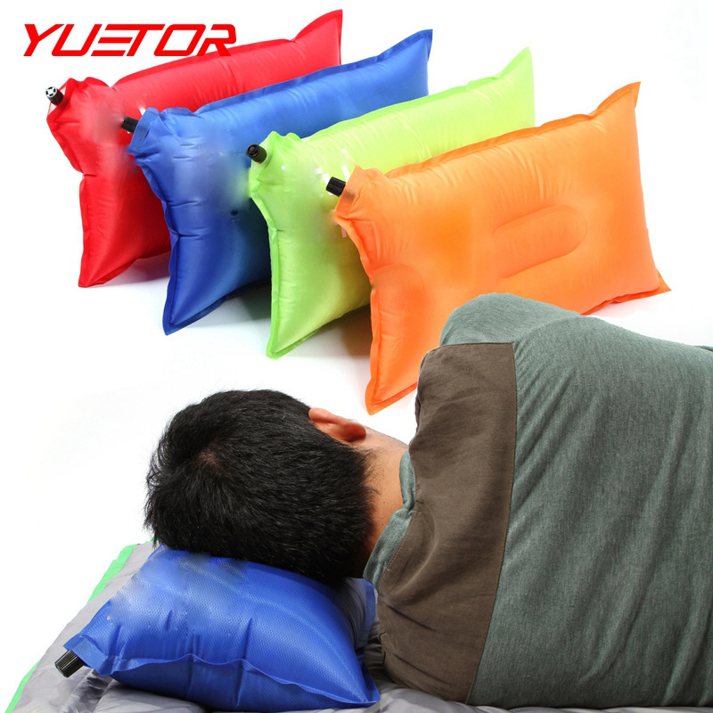 Brand YUETOR pvc folding portable sleeping almohada for travel beach camp ultralight air automatic inflatable pillow(China (Mainland))