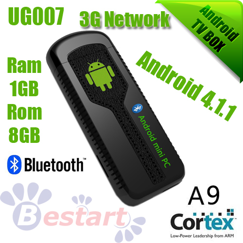 New IPTV, UG007 Dual Core 1.6 GHZ, Mini PC Android 4.1 RAM 1GB + 8GB, TV Box Smart Android Box, Rockchip RK3066