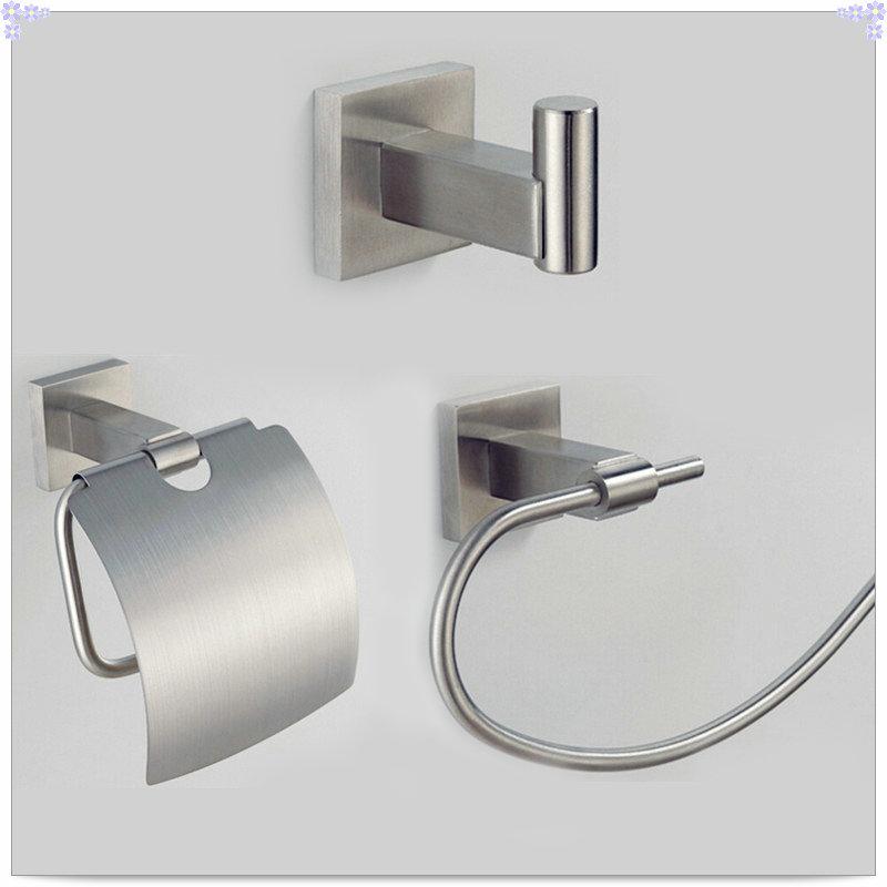 bathroom hardware set 304 stainless steel ,Robe hook,Paper Holder,Single Towel Bar 3 pcs SUS000F single cold basin(China (Mainland))