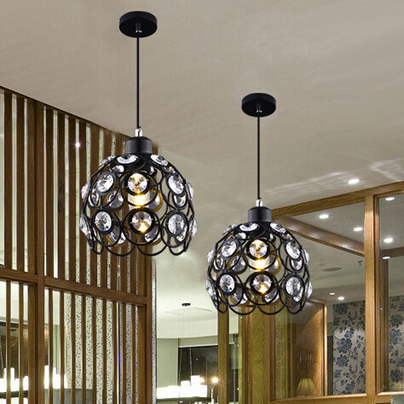 5W Modern crystal pendant lamps design white/black iron chandelier for home lights bar Living Room Lighting 110-240V(China (Mainland))
