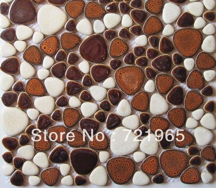 Pebble tile backsplash