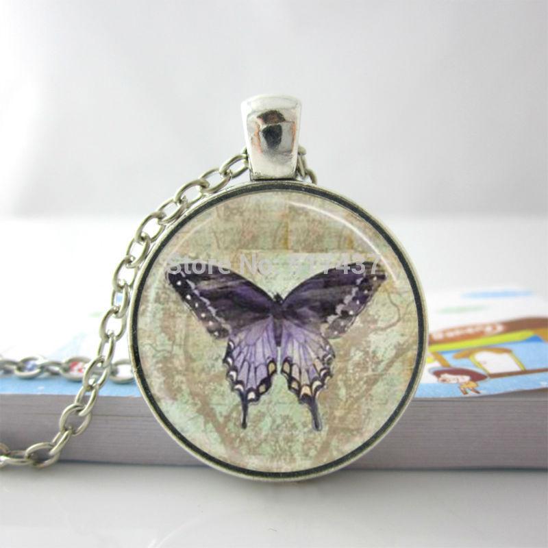 Purple Butterfly Necklace Purple Butterfly Glass Pendant Vintage Purple Butterfly Glass Tile Pendant Butterfly Necklace(China (Mainland))