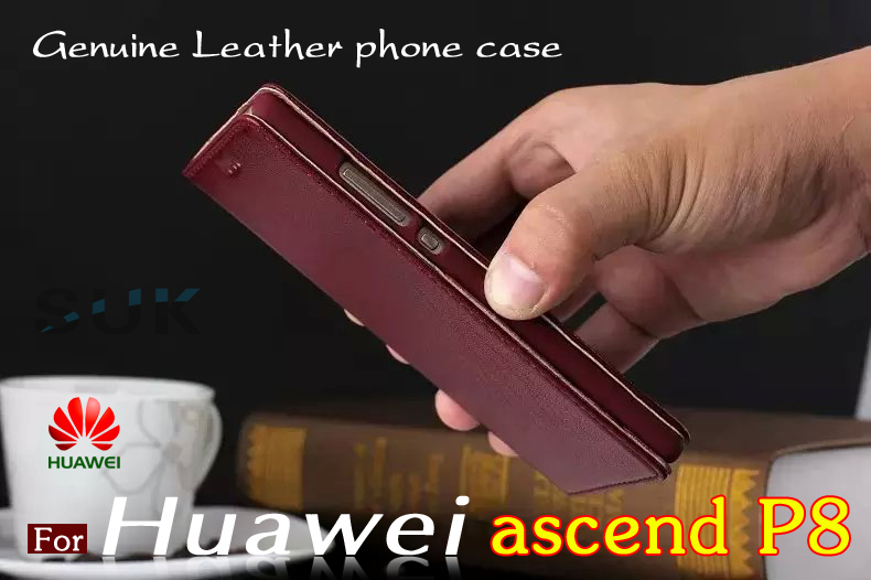 Huawei Ascend P8 leather cover Luxury Slim Genuine Leather Flip Phone Bag for Huawei P8 cell phone case In Stock Free Shipping(China (Mainland))