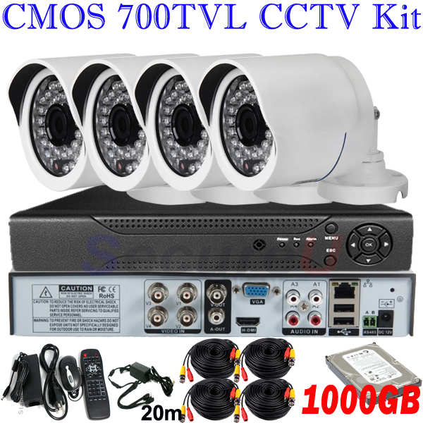 Cheap top selling 4ch security kits best home surveillance video monitor system new design bullet camera 4ch D1 DVR HDMI 2TB HDD(China (Mainland))