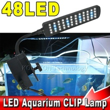 48 leds 3W White+Blue Fish Tank Aquarium LED Clip Lamp Water Plant Lighting with Flexible Adjustable Arm(China (Mainland))