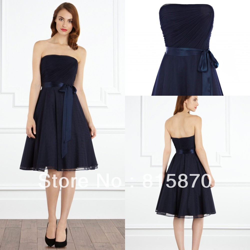 2013 a line strapless navy blue short chiffon fashion for Navy blue wedding dress