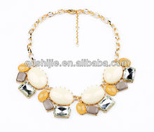 High Quality Choker Statement Necklace Jewelry  Fashion Beige Big Rhinestone Necklaces with Gold Chain for Women(China (Mainland))