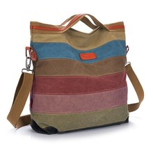 Satchel Hit Color Striped Casual Tote Women Handbag