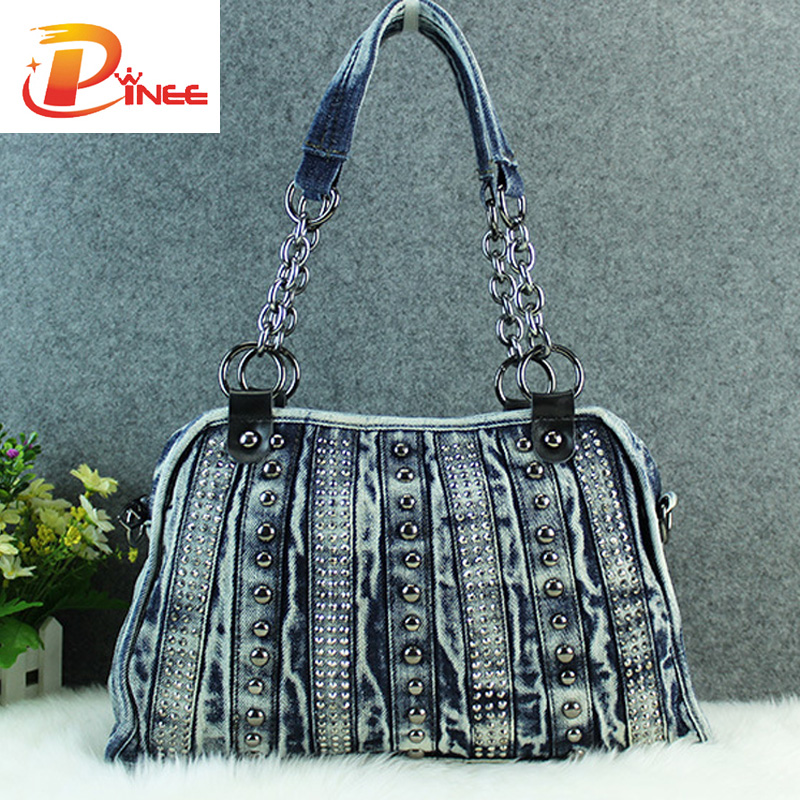 New Arrival Designer Ladies Bags Leisure Travel Tote Denim Handbags Fashion Vintage Rivet Bag(China (Mainland))