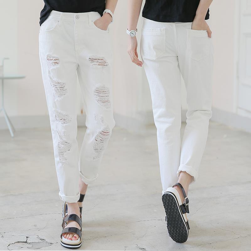 online kaufen gro handel white boyfriend jeans aus china. Black Bedroom Furniture Sets. Home Design Ideas
