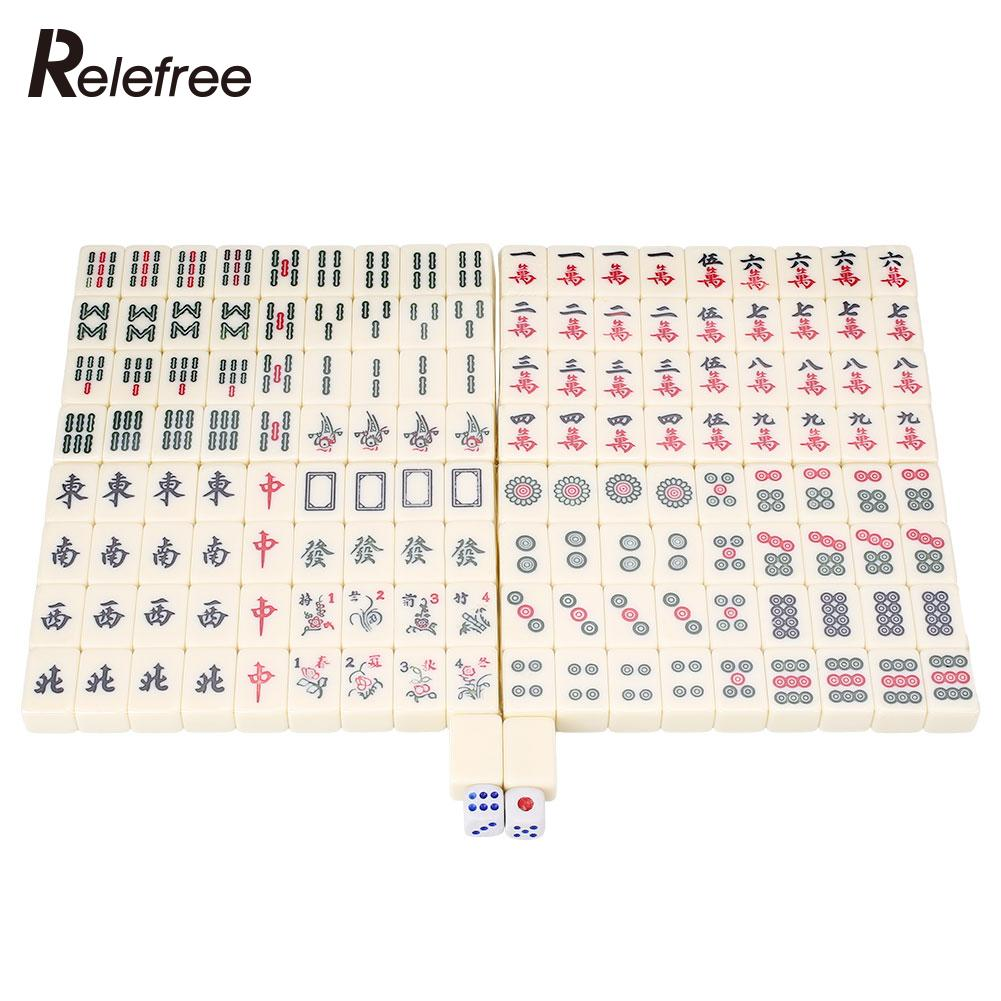 Mini Board Games Travel Chinese Traditional 144 Mahjong Tile Set w/ Box Table Games(China (Mainland))