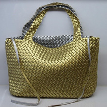2015 new fashion women woven bag double colors with inner pouch large size purse weave leather handbags