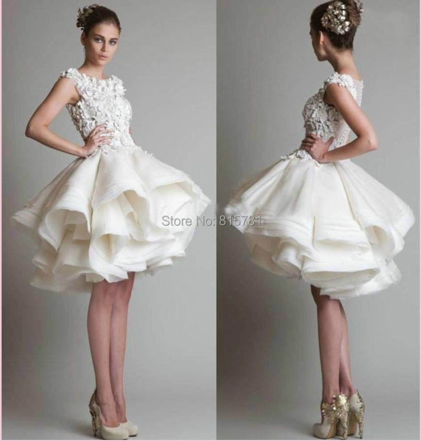 New hot white ivory puffy skirt short party bridal wedding for Sexy wedding reception dresses