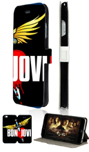 Stand Mobile Phone Bags bon jovi High Quality 2 Card Slot Leather Case Flip Cover For Iphone 5C Free Shipping