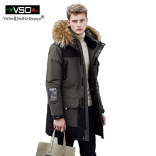 Victor&Sasha Design 2016 New Long Winter Down Jacket With Fur Hood Men's Clothing Casual Jackets Thickening Parkas Male Big Coat(China (Mainland))