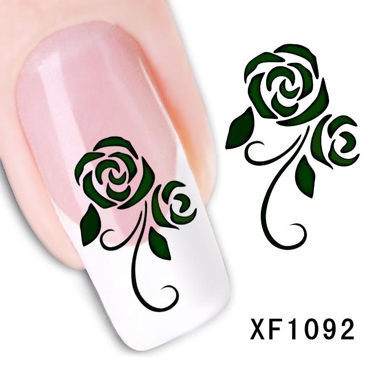 Free shipping japanese style watermark 1 Sheets 3D Design black rose flower Tip Nail Art nail sticker nails Decal nail tools(China (Mainland))