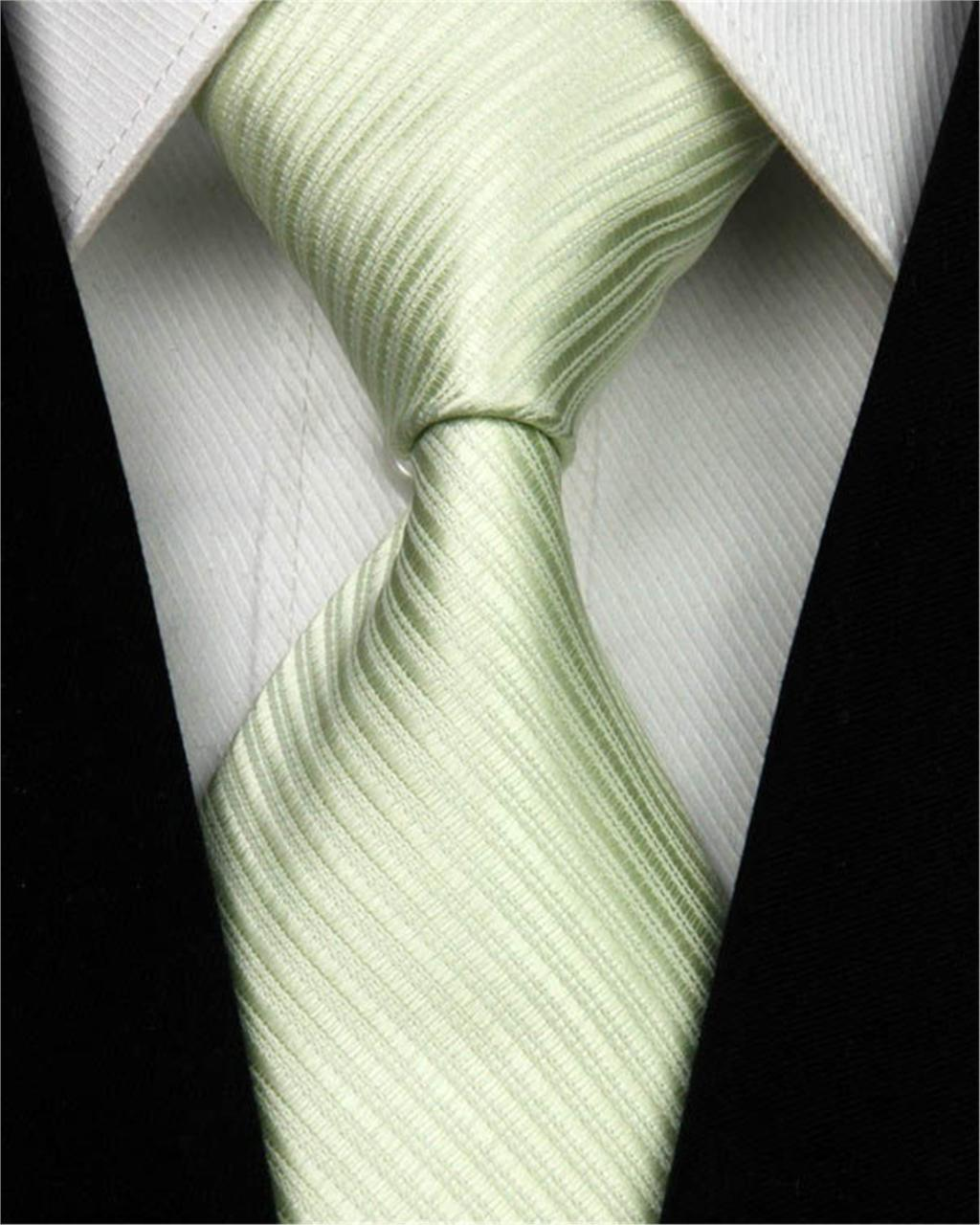 """New Men Green Tie 100% Silk Striped Jacquard Woven Necktie Wedding Party Business Solid Color Suit Ties Nt20 (4""""/10cm)(China (Mainland))"""