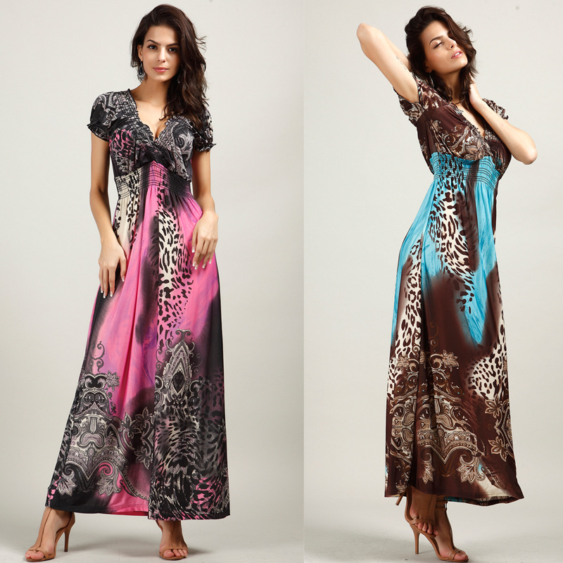 New summer 2015 women beach dress bohemian dress leopard dragged Plus Size ice silk dresses(China (Mainland))