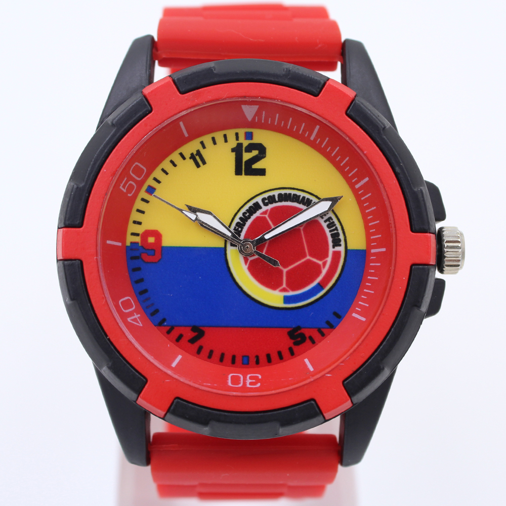 2015 new wholesale 3 colors for colombia national soccer team Souvenir for men football quartz alloy silicone fashion watches(China (Mainland))