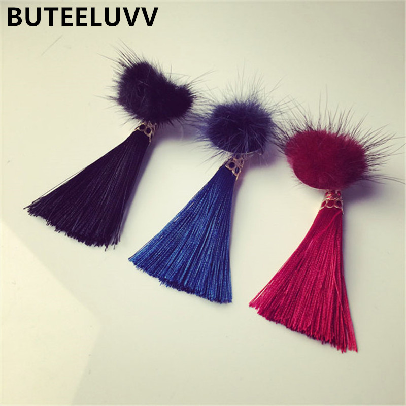BUTEELUVV Faux Fur Lapel Pin 2017 New Women's Brooch Black Alloy Broches Mujer Pins and Brooches Tassel Pin Badge Large Brooches(China (Mainland))