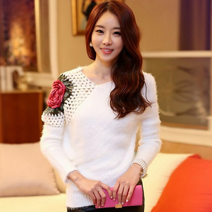 Fashion crocheted big rose hollow out women's sweaters long sleeve irregular V neck mohair pullover sweaters S-XL 4 color(China (Mainland))
