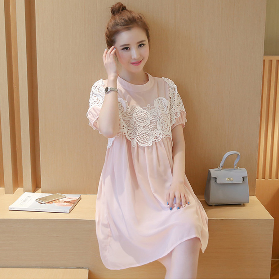 Maternity Dresses Summer Short-Sleeved Lace Hollow Out Chiffon Dress For Pregnant Woman M-XXL Loose Pregnancy Clothing HMA094(China (Mainland))