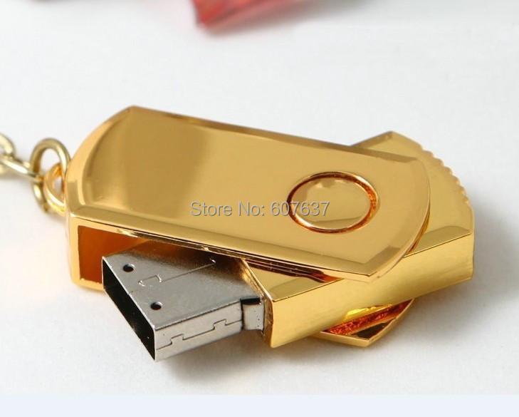 1pcs hot usb Waterproof Gold color Metal USB Flash Drives pen drive 64GB 32GB 16GB 128GB Flash Drive with key ring(China (Mainland))