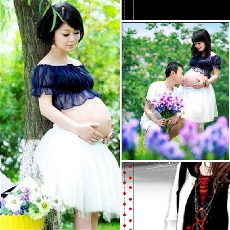 New Chiffon Clothes For Pregnant Women Maternity Photography Props Pregnancy Clothing Cute Photo Lace Gown Dresses Set <br><br>Aliexpress