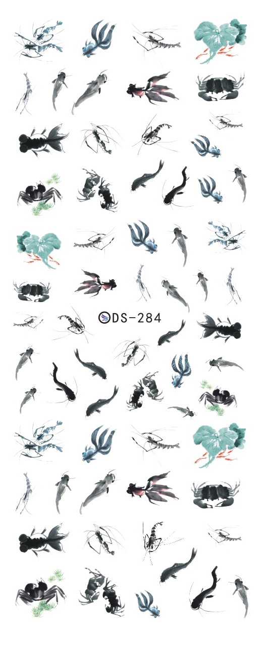 DS284 DIY Water Transfer Foils Nail Art Sticker Chinese Style Ink Paiting Fish Manicure Decals Minx Nail Decorations Tools(China (Mainland))