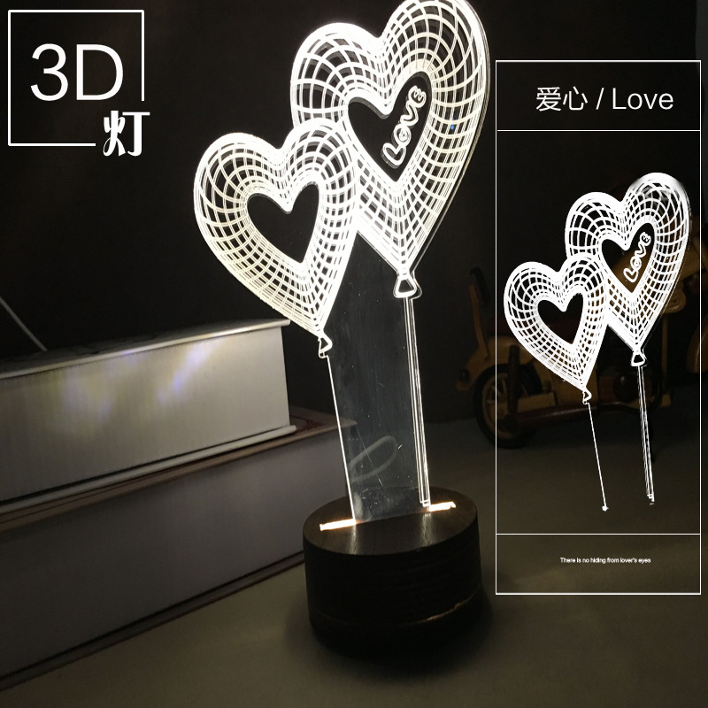 Creative 3D visual three-dimensional lamp LED decorative personality lamp bedroom living room ambient light romantic gift free(China (Mainland))