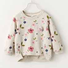 Retail 2016 spring and autumn new children's clothing girls sweater flowers primer shirt round neck sweater coat baby clothes