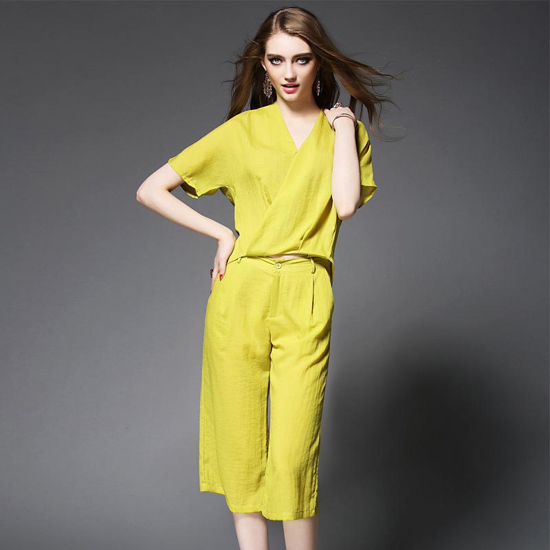 Best Quaity New Clothes Pant Suit Set Summer Ladies V-Neck Loose Shirt+Wide Leg Calf-Length Capri Pants(1Set) Casual Tacksuit(China (Mainland))