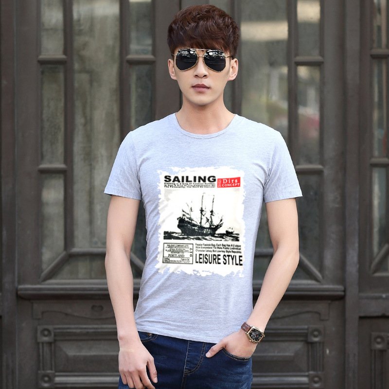 Casual T-shirt printing simple tee T-shirt male men's t shirt casual round neck sailing print short-sleeved T-shirt(China (Mainland))