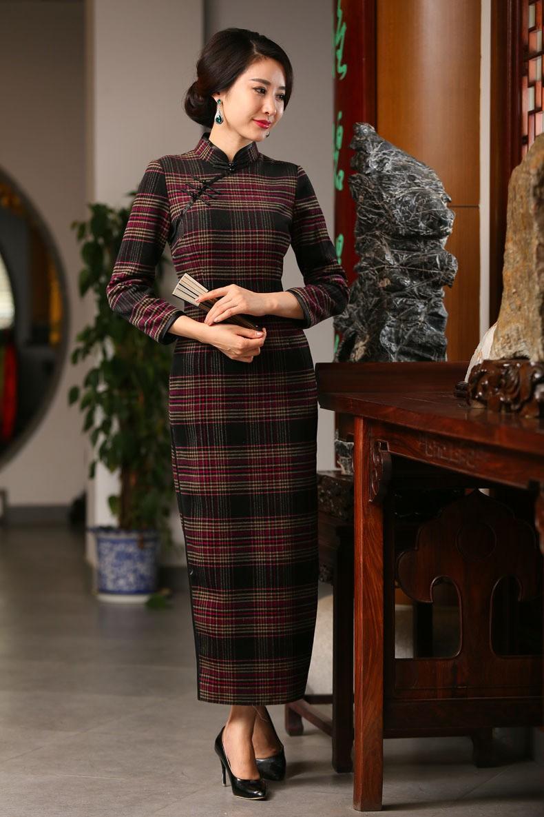 ยุโรปวินเทจของผู้หญิงขนสัตว์ลายสก๊อตยาวCheongsamแฟชั่นสไตล์จีนชุดที่สง่างามQipaoขนาดSml XL XXL XXXL F101003 ถูก