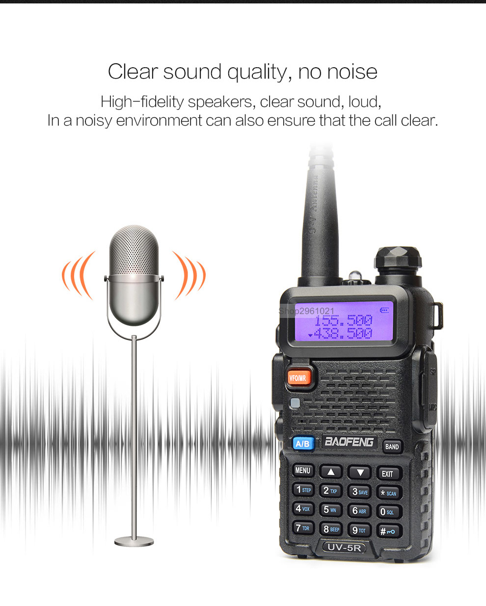 BAOFENG UV-5R Walkie Talkie 8W UHF VHF Dual Band 1800mah