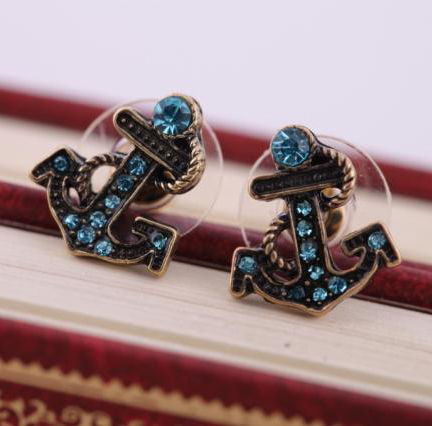 Wholesale Trendy Jewelry Vintage Navy Ship Anchor Rope Sailor Rhinestone Pendant Women Lady Party Dress Alloy Earring Stud(China (Mainland))