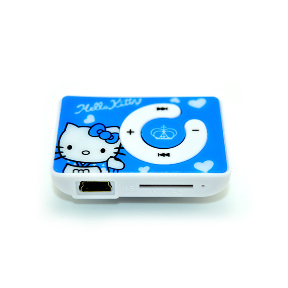 2016 Fashion Mini Clip Cartoon Hello Kitty MP3 Music Player Clip MP3 Player with TF Card Slot 5 Colors(China (Mainland))