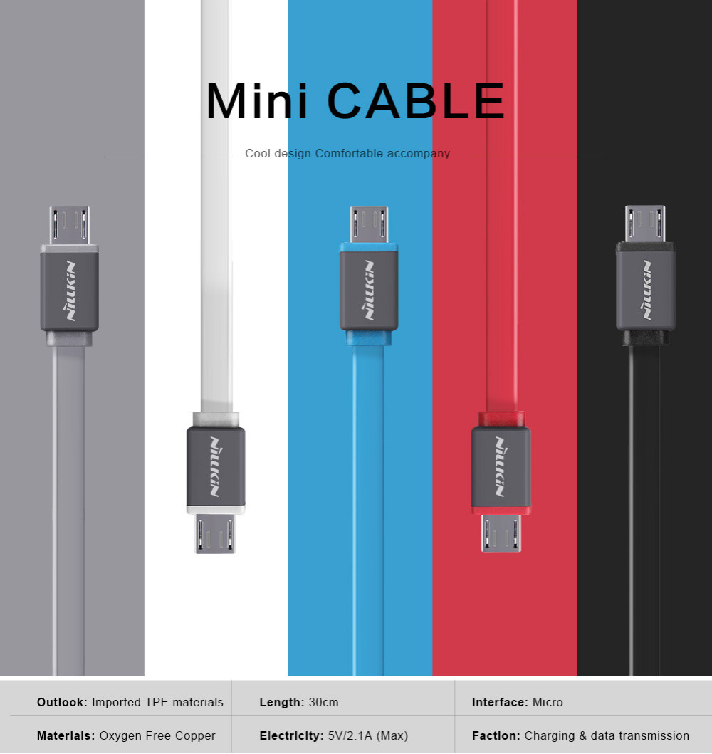 Nillkin 30CM Mini Mobile Phone Cables Power Bank 2A Quick Charging Micro USB Data Cable(China (Mainland))