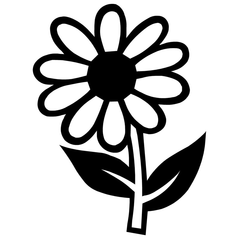 9.4*12.7CM Daisy Flower Car Stickers Reflective Vinyl Decals Motorcycle Accessories Black Silver(China (Mainland))
