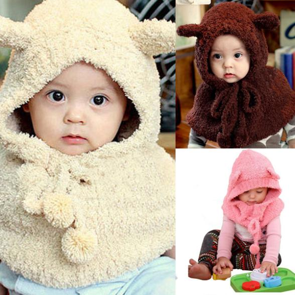 Hot New Arrival Baby Kid Toddler Caps Winter Warm Hat & Cloak Caps Cape Shawl Rabbit Pattern Wraps(China (Mainland))