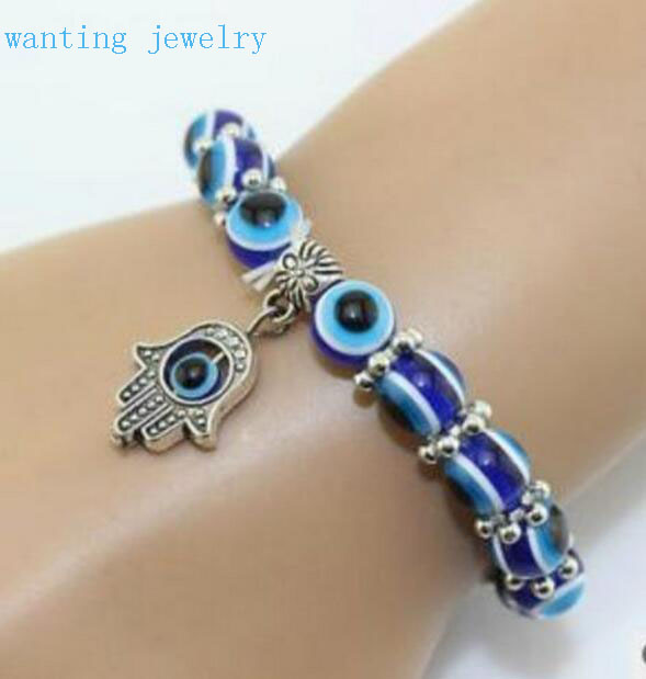 Hot Fashion Vintage Evil Eye Hand Of Fatima Hamsa Charm Bracelet Bangles Woman Jewelry 5pcs/lot Free Ship!Good Lucky(China (Mainland))
