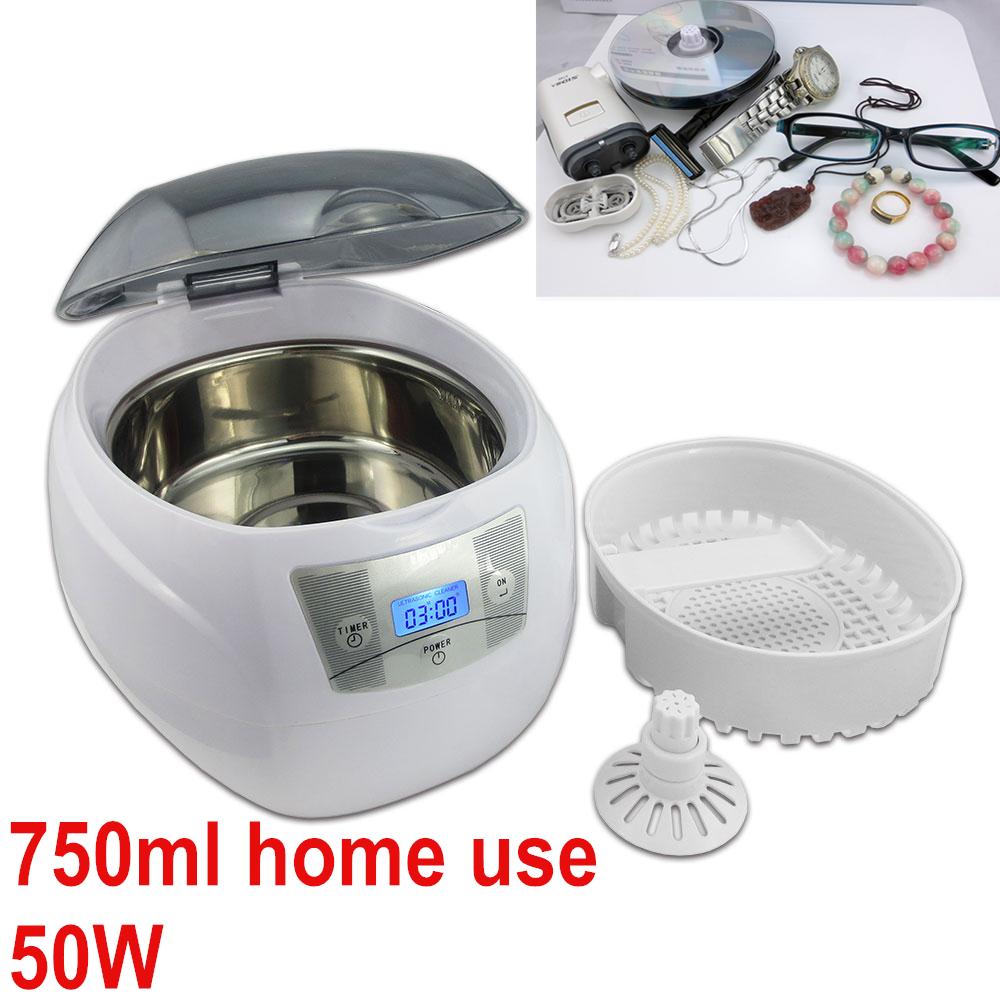 Mini digital home ultrasonic cleaner jewelry dental watch glasses sonic bath washing cleaning machine 750ml(China (Mainland))