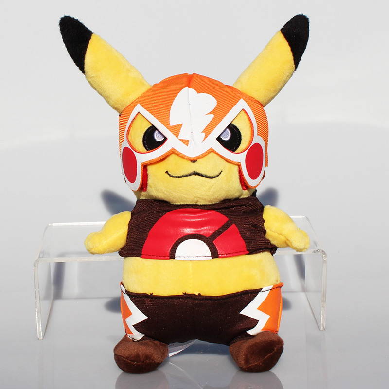 5Pcs/Lot Pokemon XY Pikachu Plush Toy Cosplay With Grimace Mask Plush Stuffed Soft Animals Dolls 22cm Approx<br><br>Aliexpress