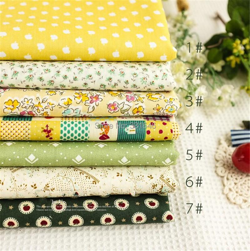 45*50cm Yellow Green Cotton Patchwork Fabric Quarter Bundle Telas Quilt Diy Baby Toy Tissu Sewing Bedding Textil Tecido - Amy Handmade Store store