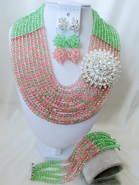 The fashion wedding jewelry set in Nigeria, Africa beads necklace bracelet with crystal sets    A45<br><br>Aliexpress