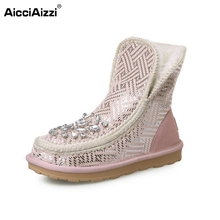 Buy Woman Real Leather Half Short Snow Boots Women Fashion Bling Botas Femininas Warm Winter Shoes Footwear Size 34-40 for $48.66 in AliExpress store