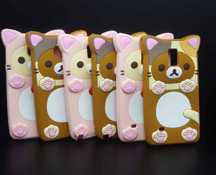 Cute 3D Cartoon Rilakkuma Bear soft Silicon Case for Samsung Galaxy Note 3/4/5/N9000/N9100 Rubber Cover shell Phone cases(China (Mainland))