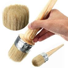 1Pc Wooden Handle Round Bristle Paint Wax Chalk Shabby Chic Oil Paint Brush Tools(China (Mainland))